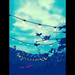 Elektrische Girlande in einem grünen blauen Himmel