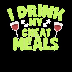 Schummeln Sie Mahlzeit Wein