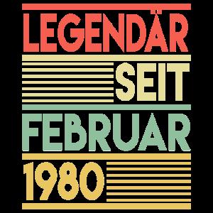40. Geburtstag Februar 1980 Geschenk Geschenkidee