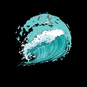 Ozean - große Welle mit Möven