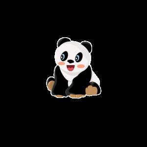 Panda Pandabär sitzt und lacht