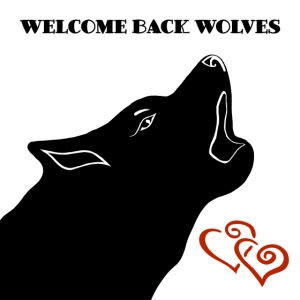 Heulender Wolf mit Text Welcome Back Wolves