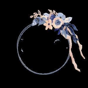 Personalisierbarer Blumenkranz Boho Blau Nude