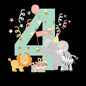 4. Geburtstag Safari Kinder 4th Birthday Löwe