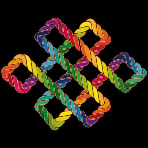 Buddhistischer Endlosknoten Regenbogen