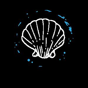 Ozean - Blauer Kreis mit weißer Muschel