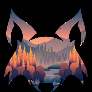 Fuchs Wald See und Berge