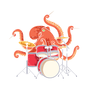 Octopus Playing Drums Drummer Band The Animal