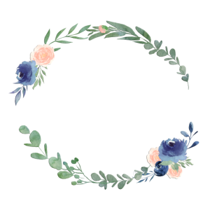 Personalisierbar Blumenkranz Blau Pfirsich