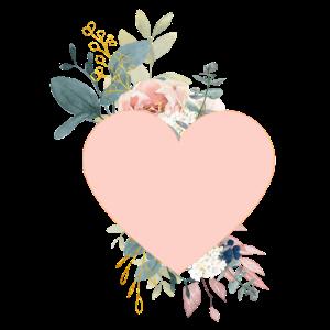 Personalisierbar Herz Blumen