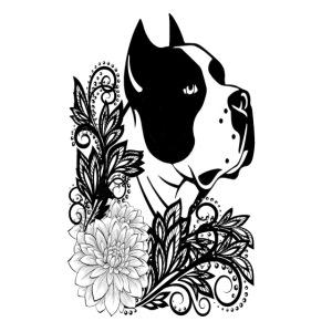 perro con flores