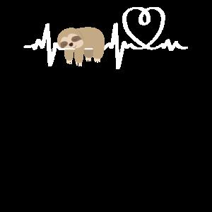 Faultier Herzen Ekg Herzschlag Schläfrig