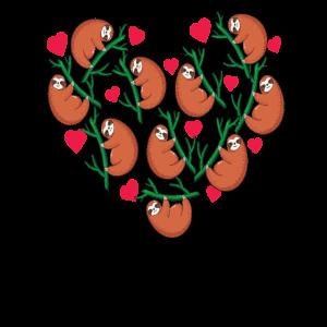 Faultierherzen Herzförmige Faultiere