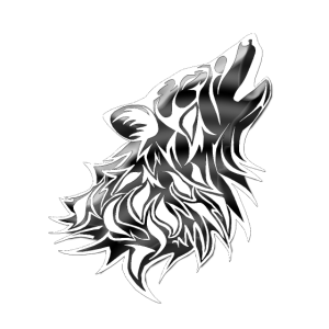 Tribal,heulender Wolfskopf, Rand weiß,dunkelgrau