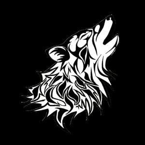 Tribal,heulender Wolfskopf, Rand schwarz