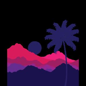 Bäume, Berge und Sonnenuntergang Naturliebhaber