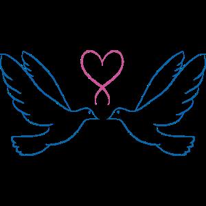 Hochzeit Tauben - Liebe Verliebt Verlobt - Herz