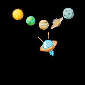 Planeten und Raumschiff Raum