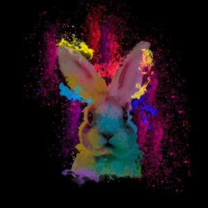 Watercolor Hasen Kaninchen Kunst bunte Farben Art