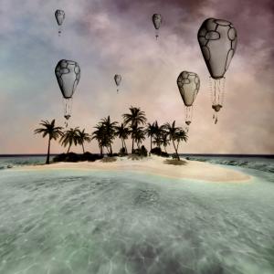 Wunderbare tropische Insel mit Luftballons