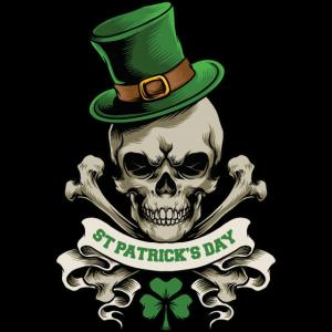 St. Patrick's Day Totenkopf Kobold Kleeblatt Glück
