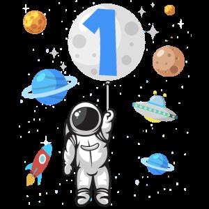 Astronaut Rakete 1. Geburtstag Weltraum 1 Jahr UFO
