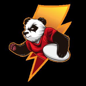 Entschlossener Rugby Panda möchte gewinnen