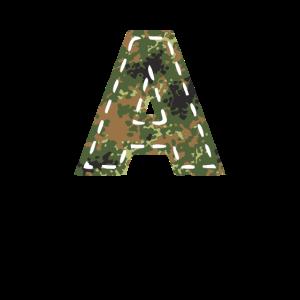 A Buchstabe camouflage tarnfleck Bundeswehr genäht