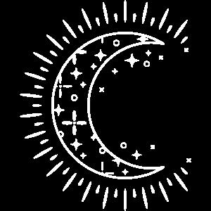 Crescent Moon Boho Style Illustration