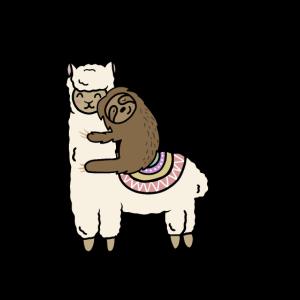 Nettes Lama-Alpaka mit Faultier-besten Freunden