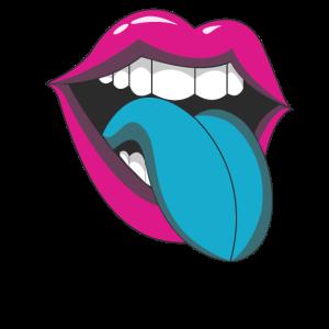 90er Popart Mund mit Zunge T-Shirt