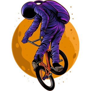 Astronaut BMX Fahrrad Fahrer Galaxy Bike