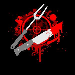 Grillen Blut Messer BBQ Spieß