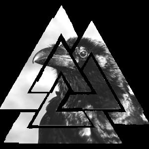 Valknut, Symbol von Odin - Mit schwarzem Raben