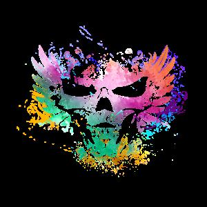 Totenkopf mit Flügel, farbig, Grunge, Vintage