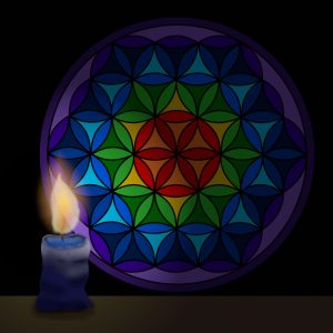 Flower of life with candle