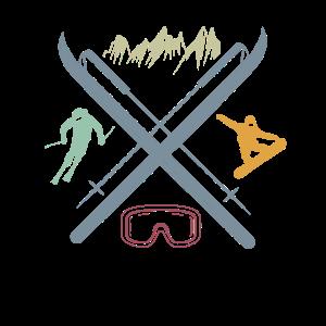 Ski und Snowboard Symbole Wintersport Liebhaber