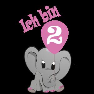 Ich bin 2 2. Zweiter Geburtstag Babyfant Elefant