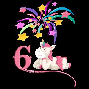 6. Geburtstag - Einhorn mit Feuerwerk