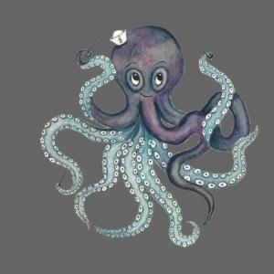 Oktopus mit schwarzem Logo - KlingBim Kinderlieder