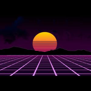 Retrowave Sonnenuntergang