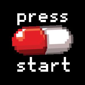 Rote Pille Start Drücken Droge Gamer Pixelig
