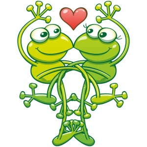 Green frogs falling madly in love