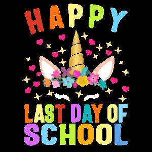 Glücklicher letzter Tag der Schule Nettes Einhorn bunt
