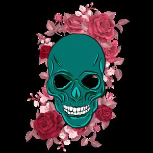 Schädel mit Blumen