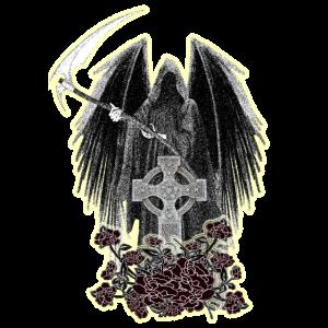 Grim Reaper,keltisches Kreuz und Rosen mit Schein