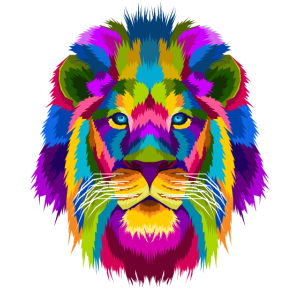 Löwe Löwenkopf Afrika Hipster Abstrakt Regenbogen