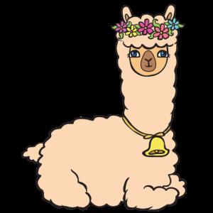 Alpaka mit Blumen und Glöckchen