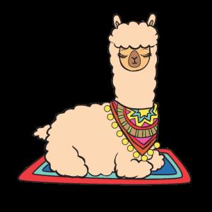 Alpaka auf Teppich.