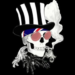 Skull mit rosa Sonnenbrille und Zylinder